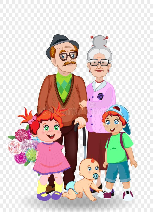 Cartoon vector illustration of grandparents and grandchildren together. Grandfather, grandmother, granddaughter, grandson and baby with flowers on transparent vector illustration