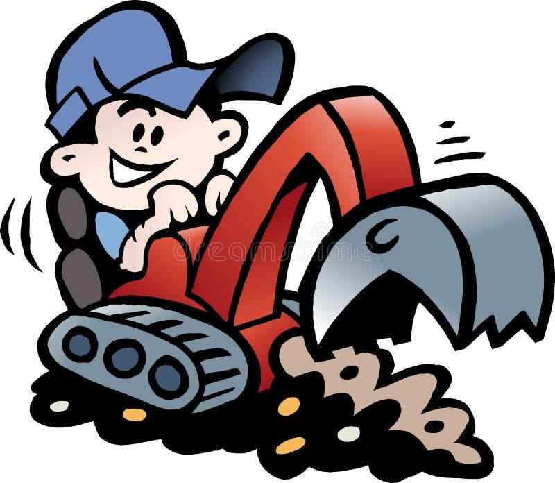 Cartoon Vector illustration of a Handyman threre working with his mini excavator. Cartoon Vector illustration of an Handyman threre working with his mini royalty free illustration