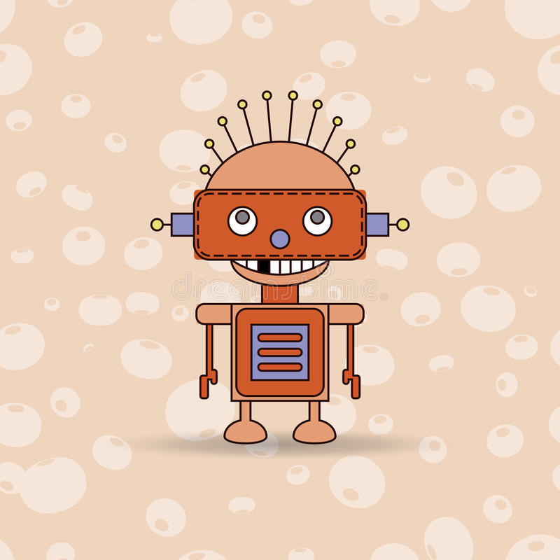 Cartoon vector illustration of a happy little robot with green eyes. vector illustration