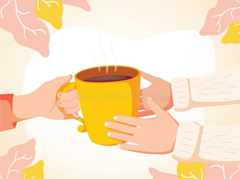 Cartoon vector illustration of Human hand holding a warm cup of tea to another persons hands. Help to the needy humanity vector illustration