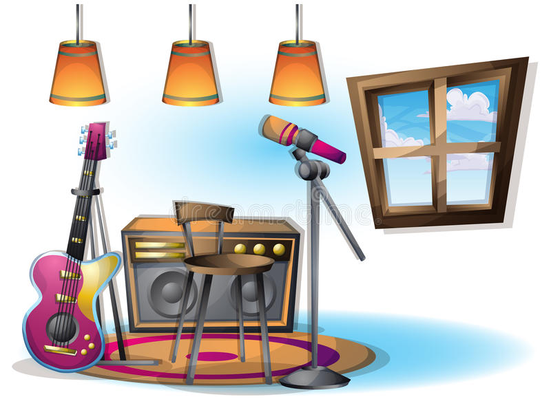Cartoon vector illustration interior music room with separated layers stock illustration