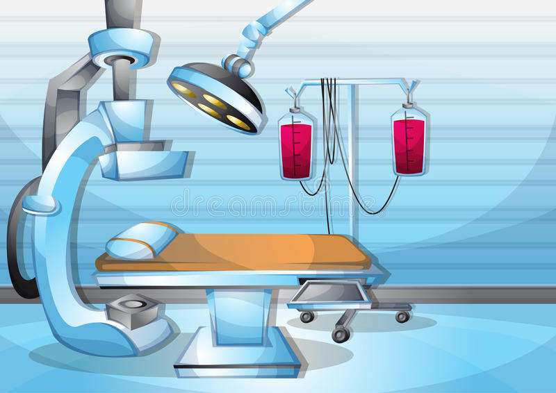 Cartoon vector illustration interior surgery operation room with separated layers. In 2d graphic stock illustration