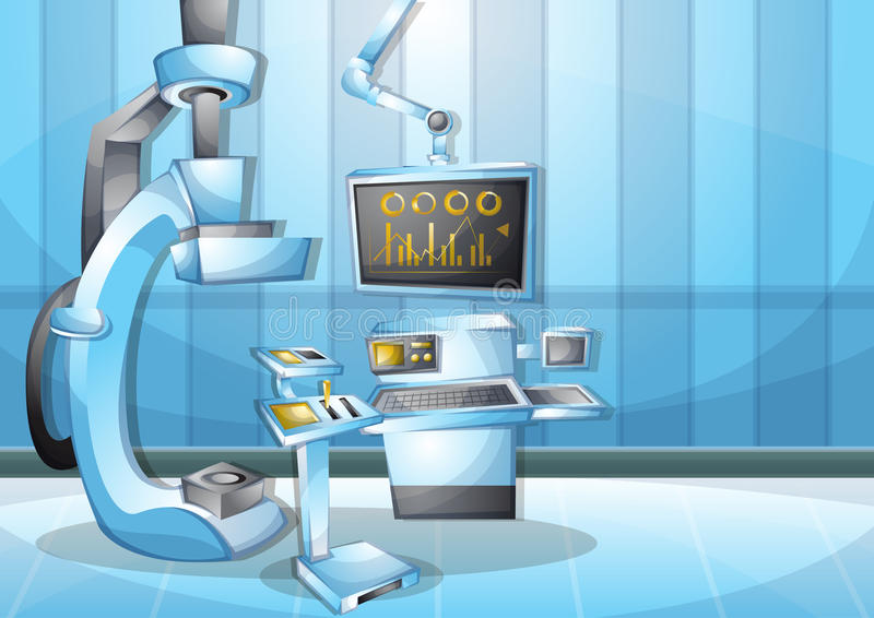 Cartoon vector illustration interior surgery operation room with separated layers. In 2d graphic vector illustration