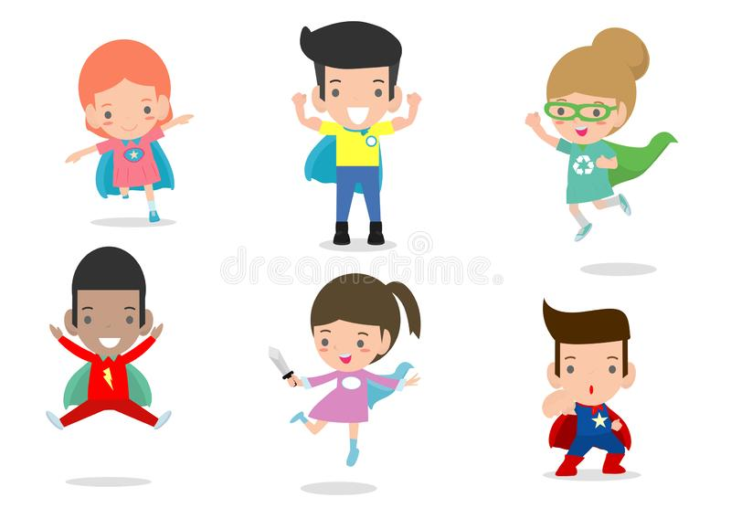 Cartoon vector illustration of Kid Superheroes wearing comics costumes,Kids With Superhero Costumes set, kids in Superhero costume. Characters isolated on white stock illustration