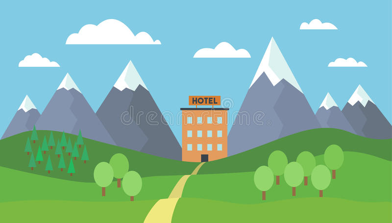 Cartoon vector illustration of mountain landscape with trees, hills and path to hotel building under blue sky with clouds vector illustration