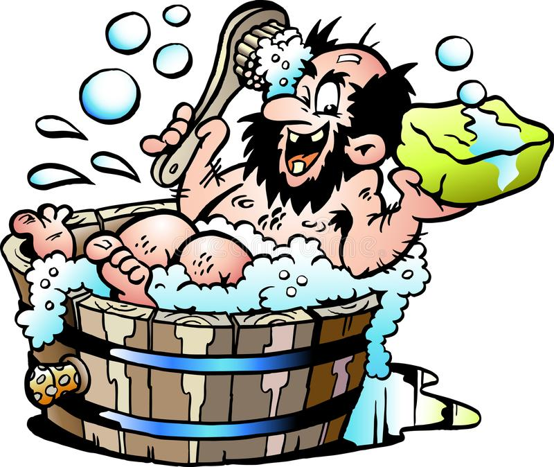 Cartoon Vector illustration of an Old dirty man who wash him selv in a Wooden Bathtub stock illustration