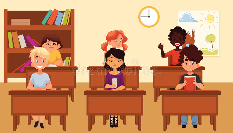 Cartoon vector illustration of school kids studying in classroom royalty free illustration