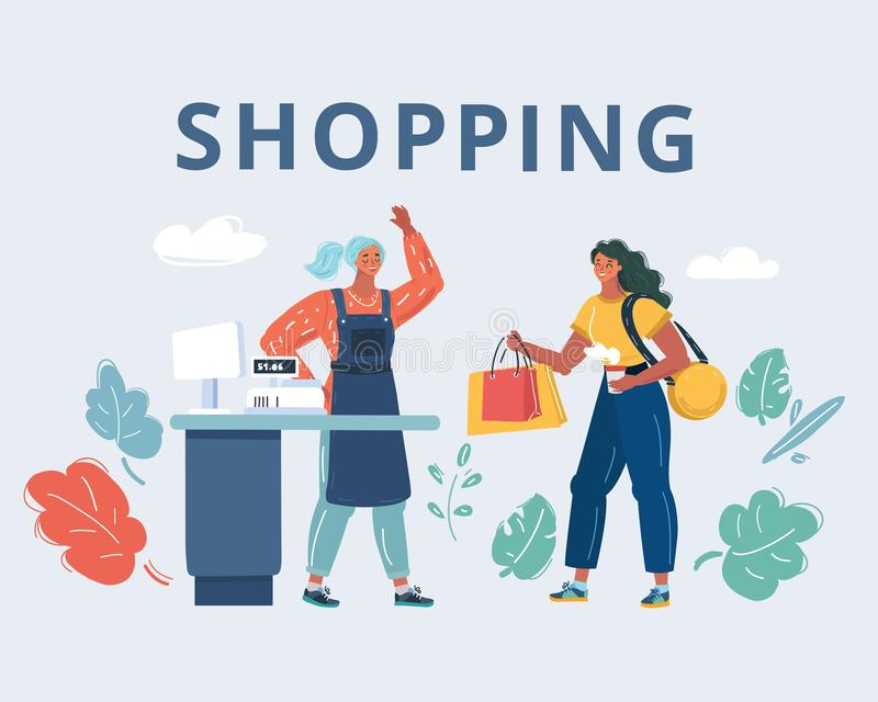 Woman in the shop. Cartoon vector illustration of woman make shopping. Shop assistant at counter. Cashier at the checkout. Human characters on white royalty free illustration