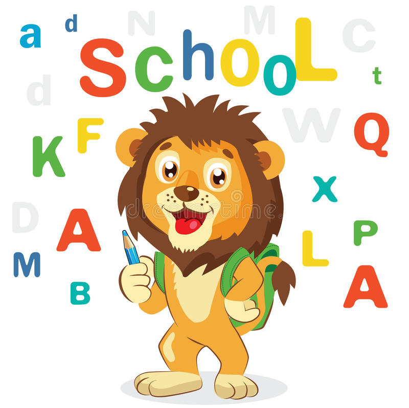 Free Cartoon Vector Illustrations. Back To School Theme. Colored Letters Vector. Cartoon Lion Mascot. Funny Lion. Royalty Free Stock Images - 75449639