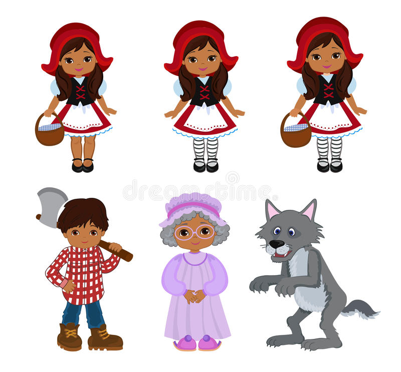 cartoon vector illustrations set of little red riding hood fairy rh dreamstime com
