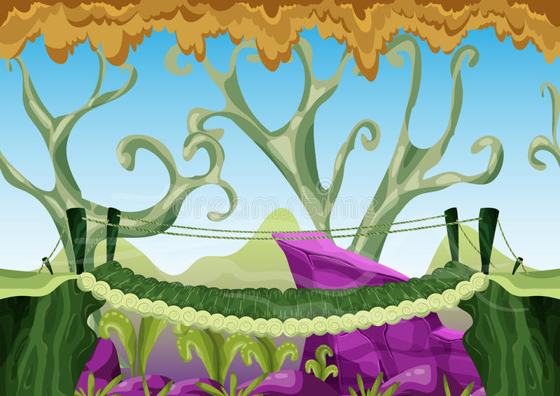 Cartoon vector landscape with separated layers for game and animation. Game design asset vector illustration