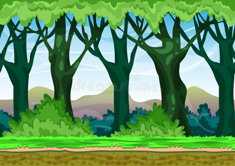 Cartoon vector landscape with separated layers for game and animation. Game design asset stock illustration