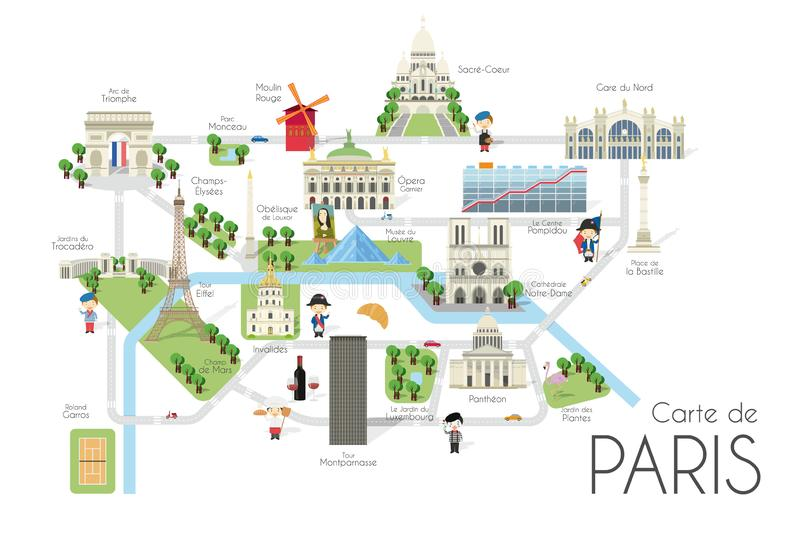 Cartoon vector map of the city of Paris, France. Travel illustration with landmarks and main attractions stock illustration