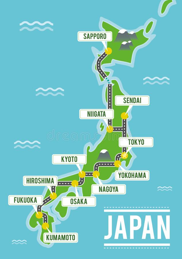 Cartoon vector map of Japan. Travel illustration with japanese main cities. royalty free illustration