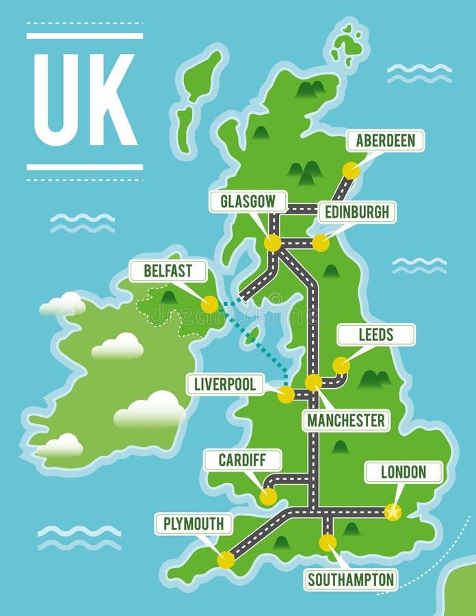 Cartoon vector map of United Kingdom. Travel illustration with british main cities. royalty free illustration