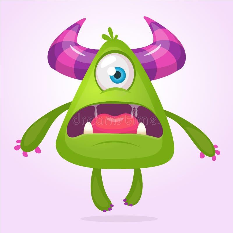 Cartoon vector monster. Monster alien illustration with surprised expression. Shocking green alien design for Halloween. Cartoon vector monster. Monster alien stock illustration