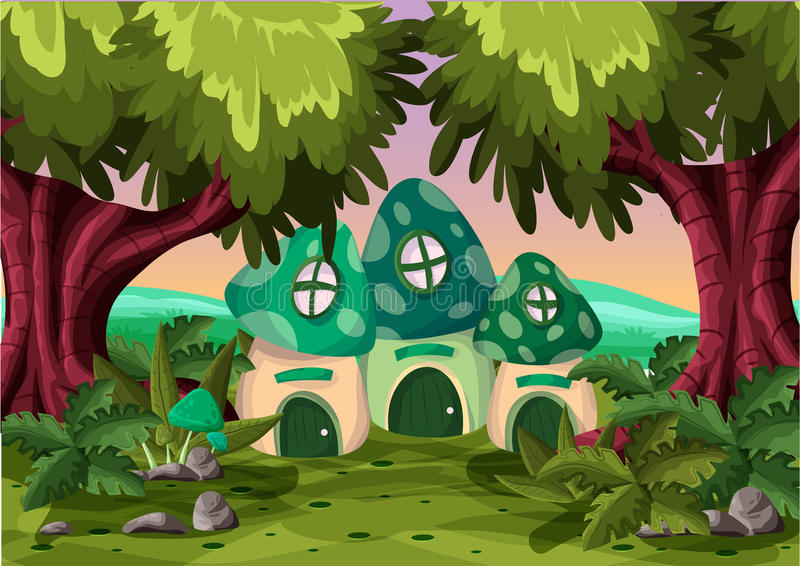 Cartoon vector mushroom house with separated layers stock illustration