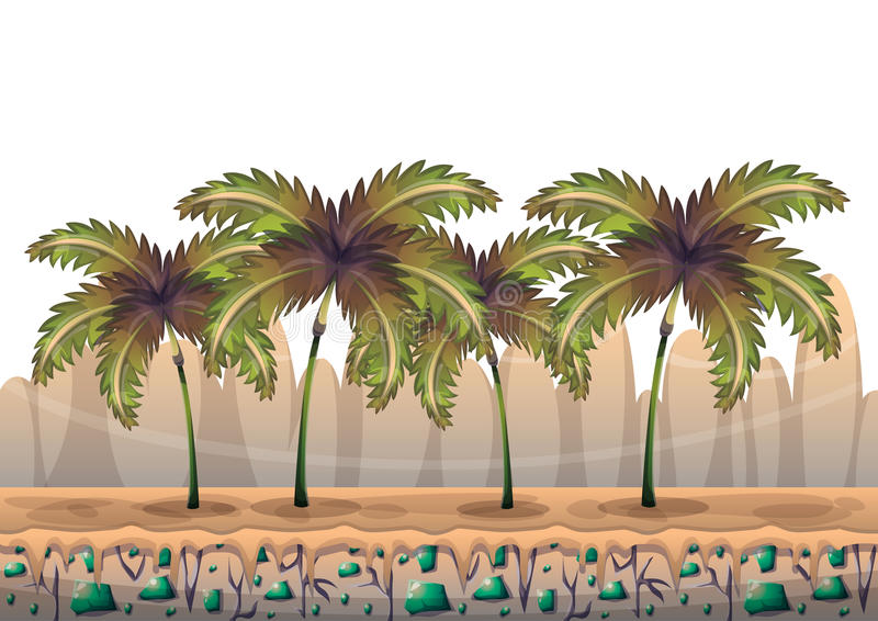 Cartoon vector nature landscape background with separated layers for game art and animation. Game design asset in 2d graphic royalty free illustration