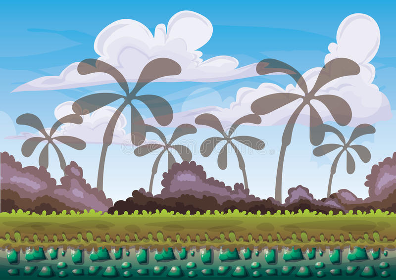 Cartoon vector nature landscape background with separated layers for game art and animation game design asset. In 2d graphic vector illustration