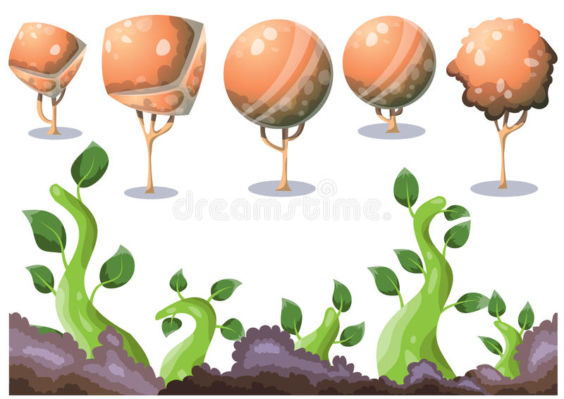 Cartoon vector nature landscape object with separated layers for game art and animation game design asset. In 2d graphic stock illustration