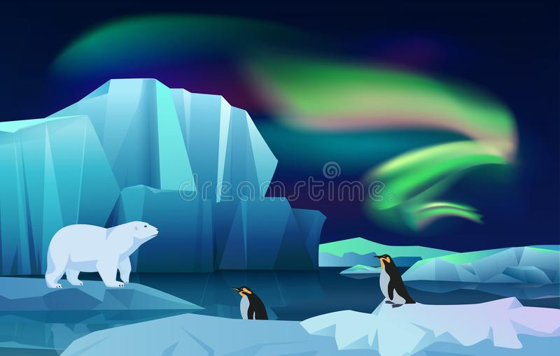 Cartoon vector nature winter arctic ice landscape with iceberg, snow mountains hills. Polar night with aurora borealis. Northen lights. White Bear and penguins vector illustration