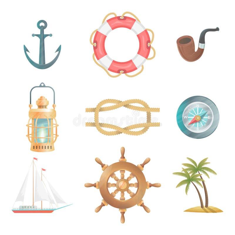 Cartoon vector nautical elements vector illustration