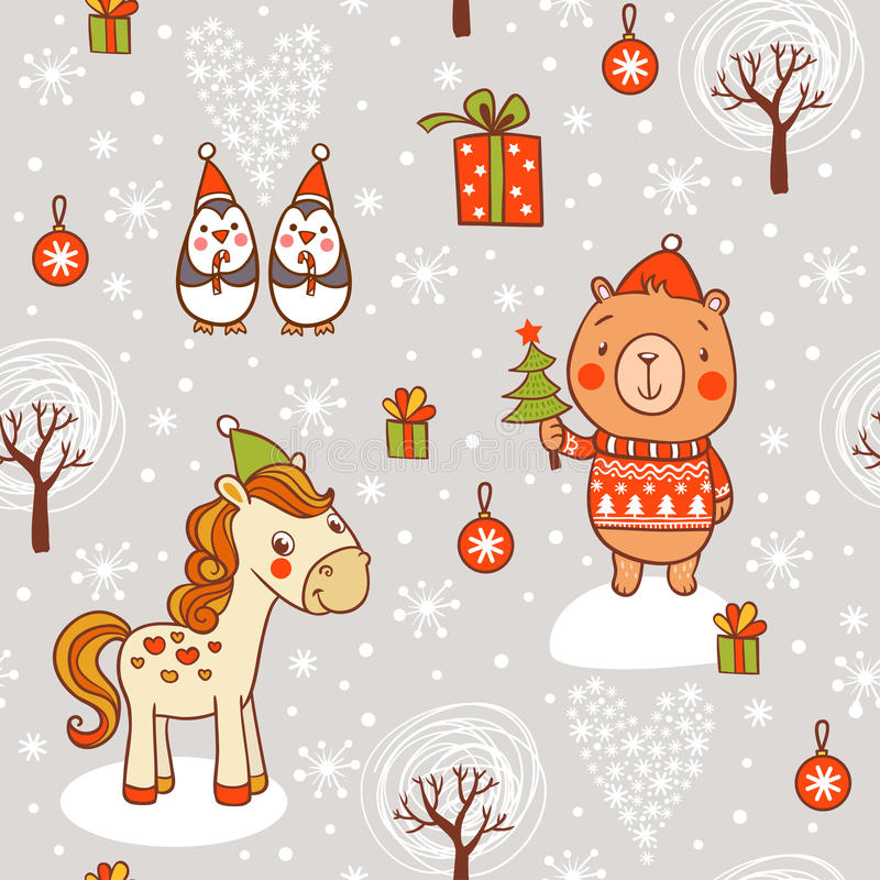 Cartoon vector new year texture. Childish vector seamless pattern with horse, bear in sweater and penguins royalty free illustration