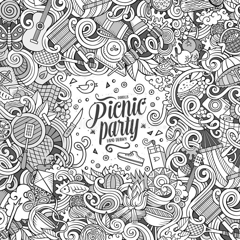 Cartoon vector picnic doodle frame. Cartoon cute doodles hand drawn picnic frame design. Line art detailed, with lots of objects background. Funny vector vector illustration