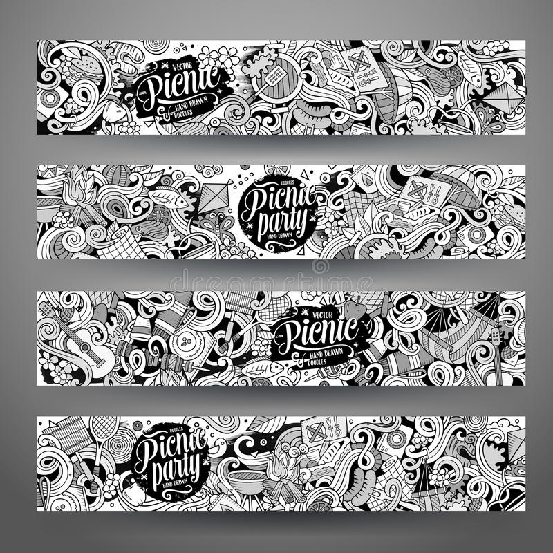 Cartoon vector picnic doodle vertical banners. Cartoon cute line art vector hand drawn doodles picnic corporate identity. 4 horizontal banners sketchy design set royalty free illustration