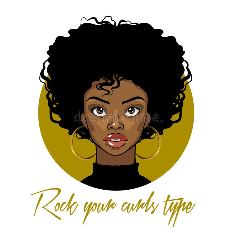 Cartoon vector portrait of an Afro American girl with curly hair, big eyes and golden earrings. Fashion Illustration on white back stock illustration