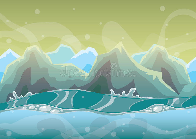 Cartoon vector sea background with separated layers for game art and animation. Game design asset in 2d graphic stock illustration