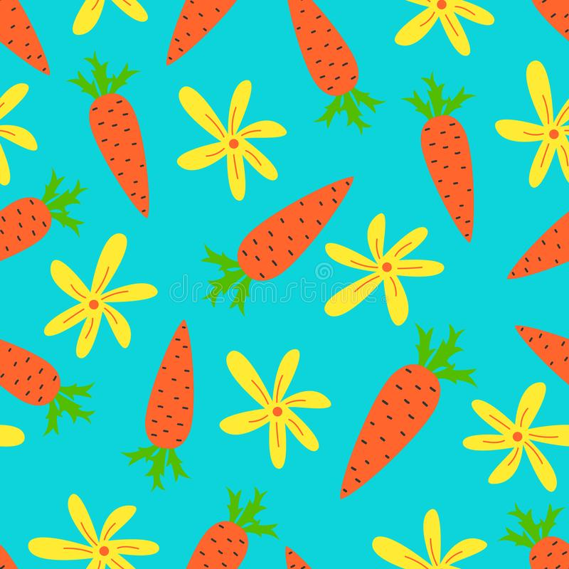 Cartoon vector seamless pattern with cute carrots. Bright background design vector illustration