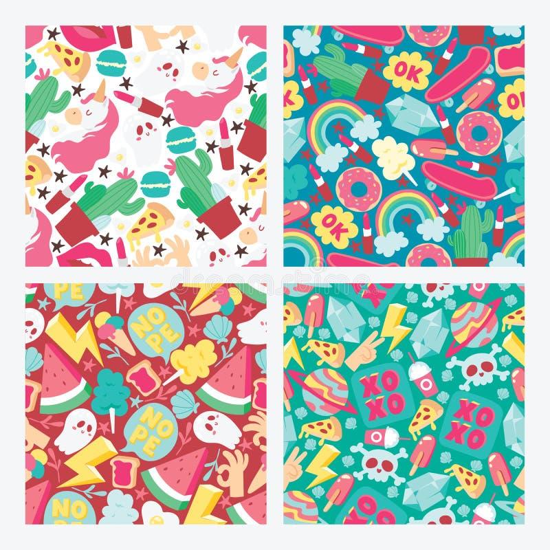Cartoon vector seamless pattern girlish accessories lipstick icecream kids unicorn rainbow and doghnut illustration stock illustration