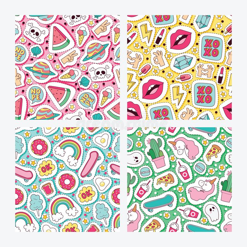 Cartoon vector seamless pattern girlish accessories lipstick icecream kids unicorn rainbow and doghnut sticker. Illustration colorful set of backdrop girlie vector illustration