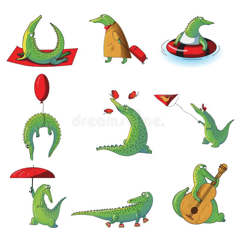 Cartoon vector set of humanized crocodiles in different situations. Wild alligator. Funny humanized animal stock illustration