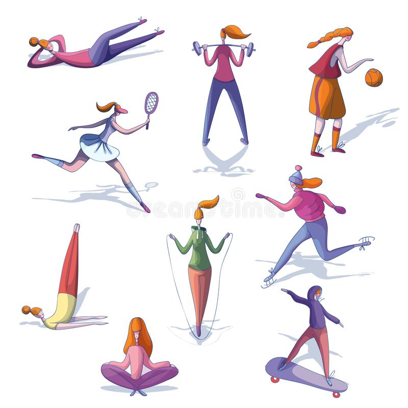 Cartoon vector set of trendy women involved in various sports. Active and healthy lifestyle. Physical activity. Set of trendy women involved in various sports royalty free illustration