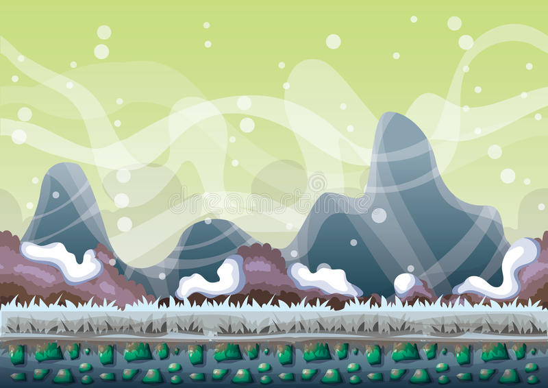 Cartoon vector snow landscape background with separated layers for game and animation. Game design asset in 2d graphic vector illustration