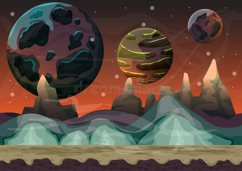 Cartoon vector space landscape with separated layers for game and animation. Game design asset vector illustration
