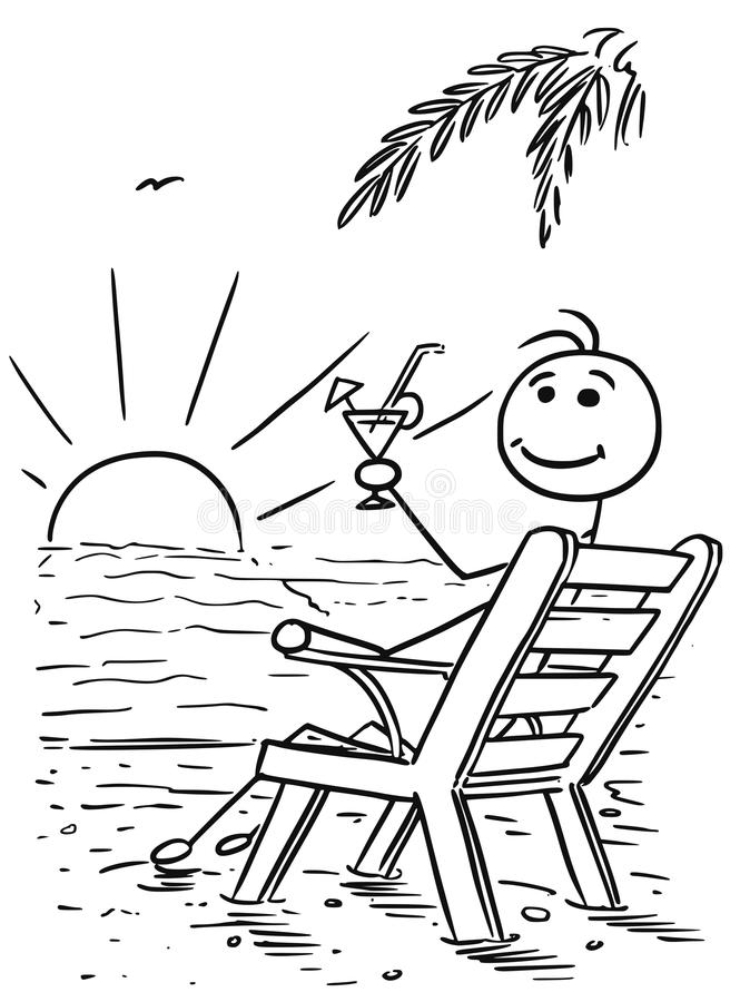 Cartoon Vector Stick Man Relaxing Sitting on the Beach Chair Watching Sunset with Drink stock illustration
