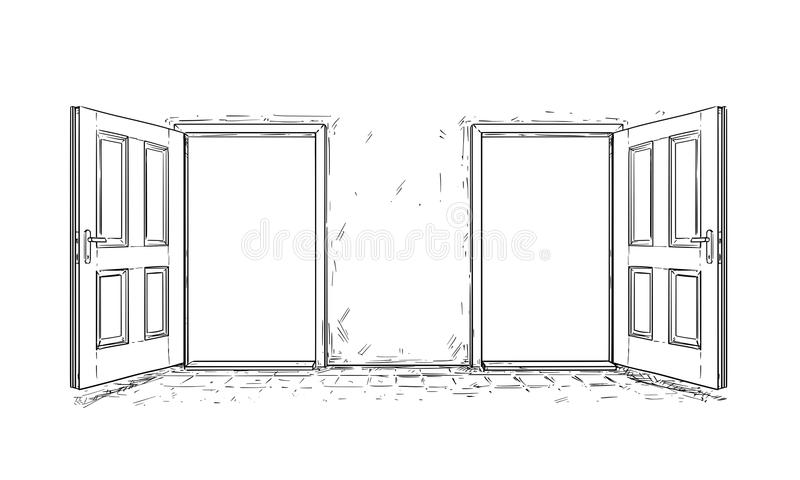 Cartoon Vector of Two Open Wooden Decision Door. Cartoon vector doodle drawing of two open wooden decision door. Two choices or ways vector illustration