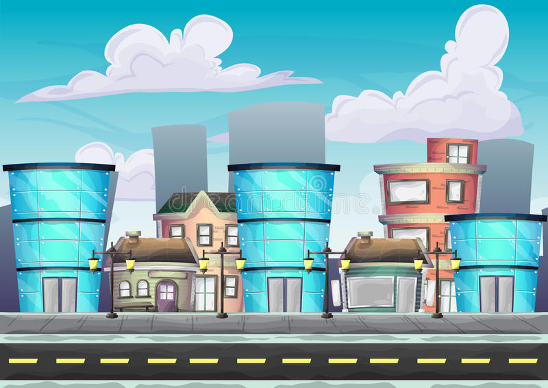 Cartoon vector urban landscape with separated layers. For game and animation, game design asset royalty free illustration