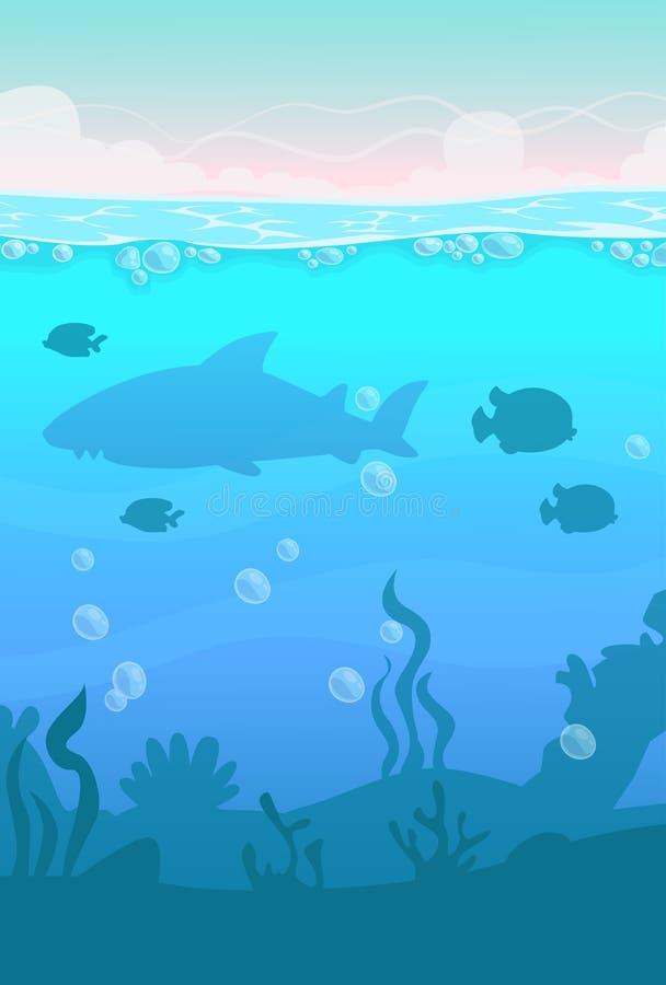Cartoon vector vertical underwater landscape. Sea life illustration stock illustration