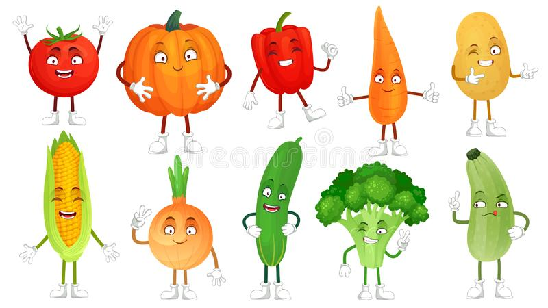 Cartoon vegetable character. Healthy veggies food mascot, baby carrot and funny cucumber. Vegetables isolated vector royalty free illustration