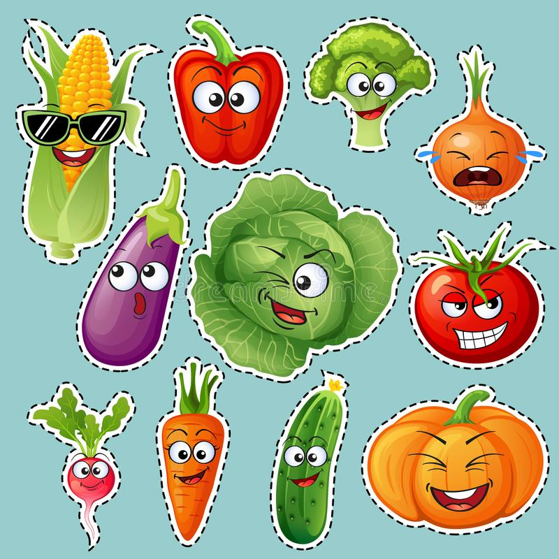 Cartoon vegetable characters. Vegetable emoticons. Sticker. Cucumber, tomato, broccoli, eggplant, cabbage, peppers, carrots, onion royalty free illustration