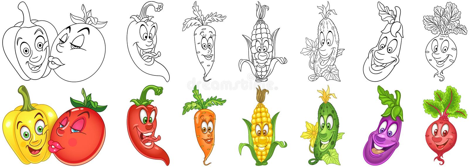Cartoon Vegetables set stock photography