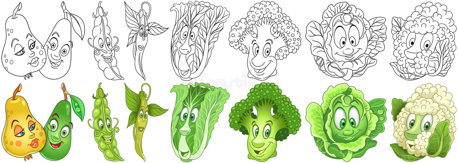 Cartoon Vegetables set royalty free stock image