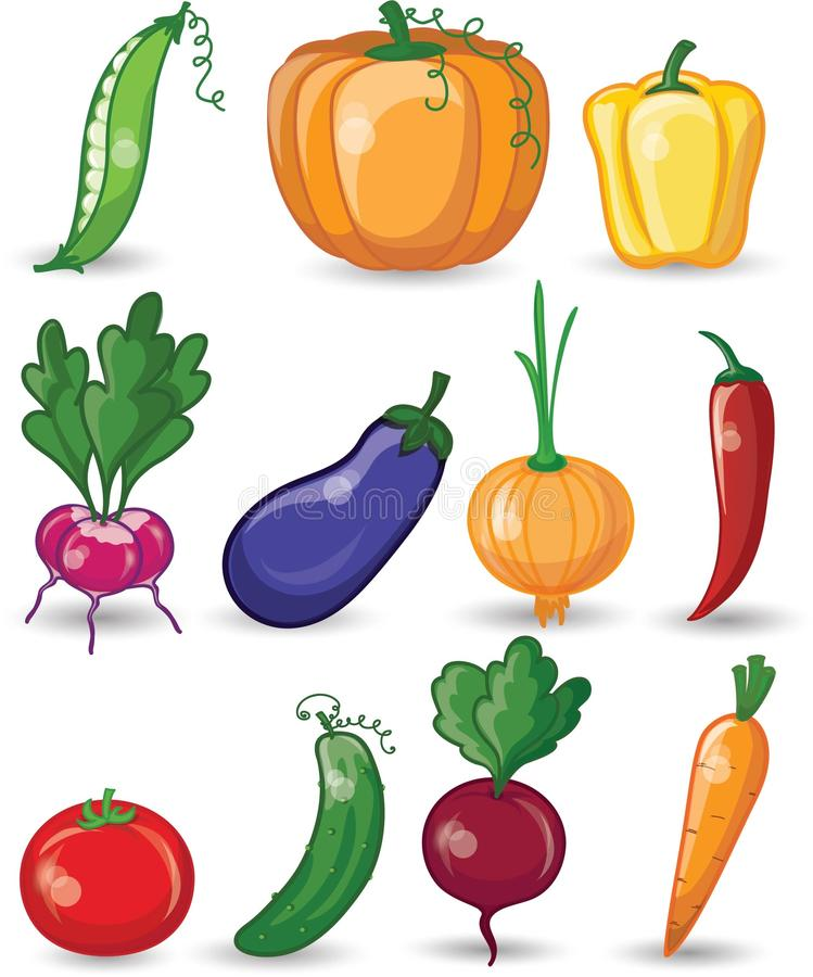 Cartoon vegetables and fruits, vector royalty free illustration