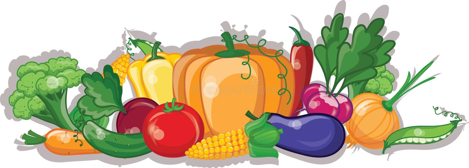 Cartoon vegetables and fruits,vector stock illustration