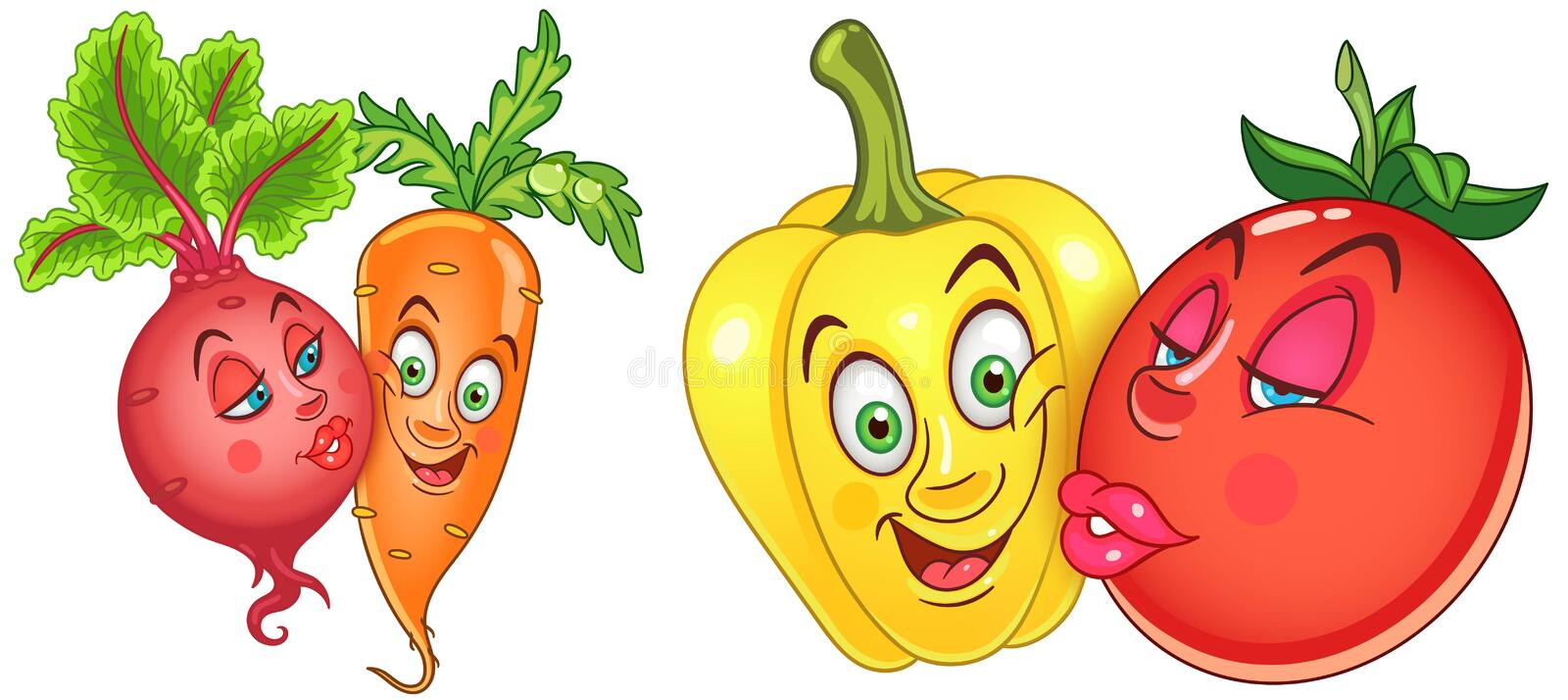 Cartoon Vegetables in Love royalty free stock photo