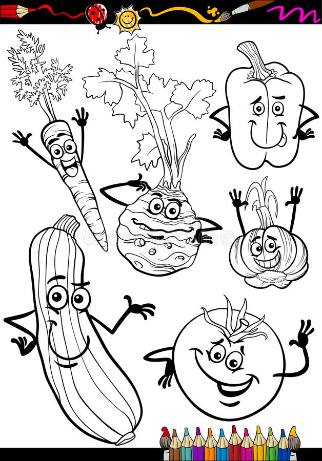 Cartoon vegetables set for coloring book vector illustration